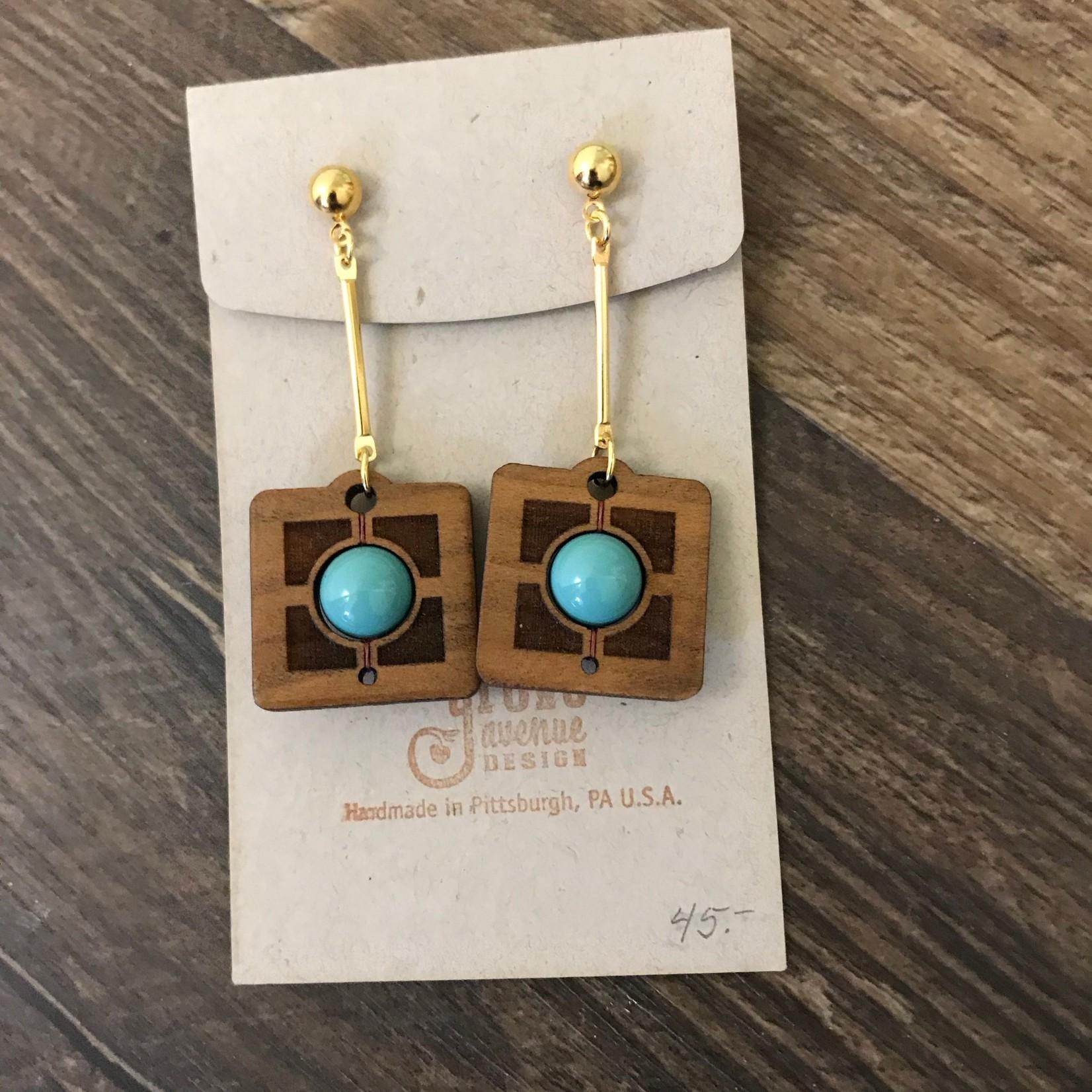 Valerie Hildenbrand Grove Avenue Design - FLW Square Engraved Turquoise Earrings E02303