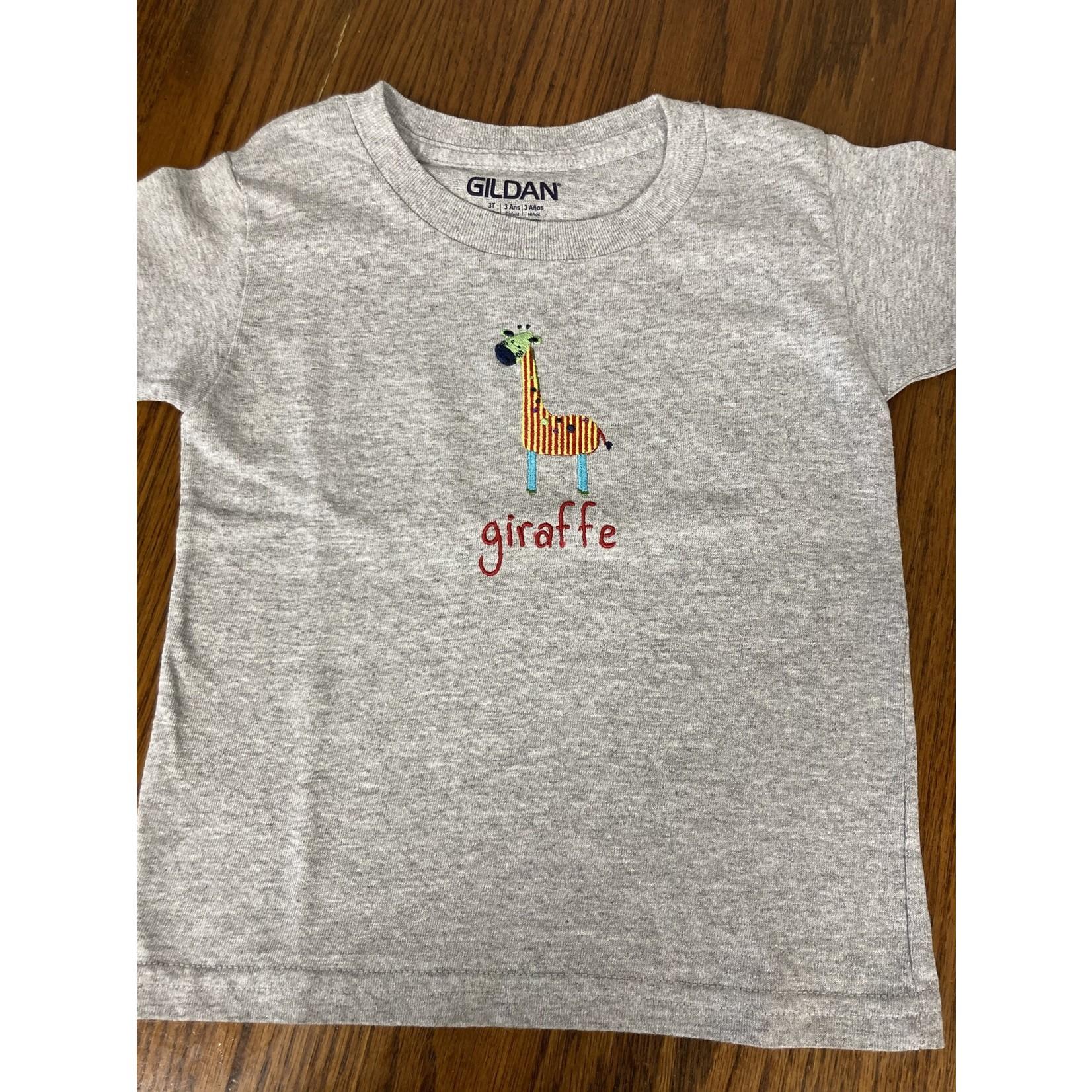 Handmade by Carol Handmade by Carol 3T gray T with Giraffe