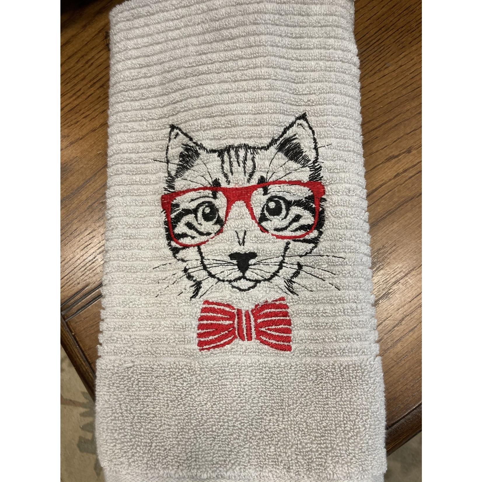 Handmade by Carol Handmade by Carol | Grey handtowel |Red cat with glasses
