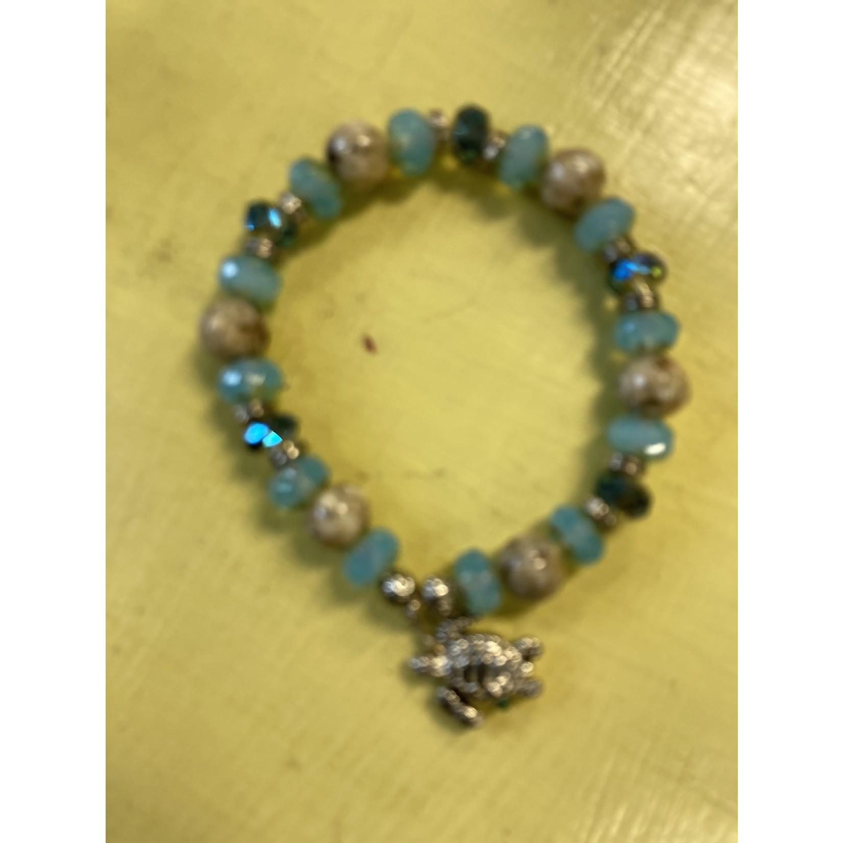 Colleen Hirsh Hirsh #53 sand & bead bracelet w silver turtle