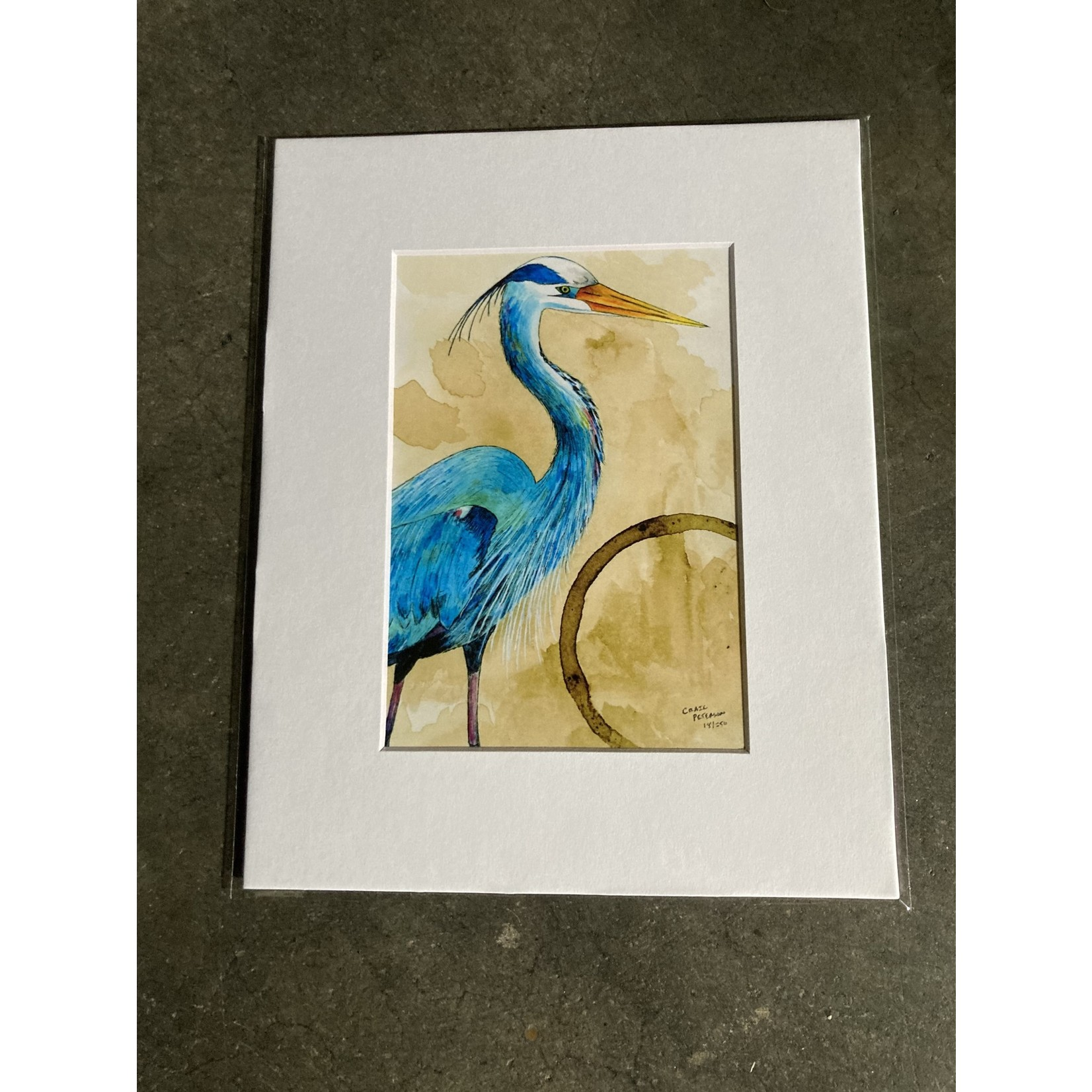 Craig Peterson Craig Peterson | Blue Flamingo Coffee stain watercolor