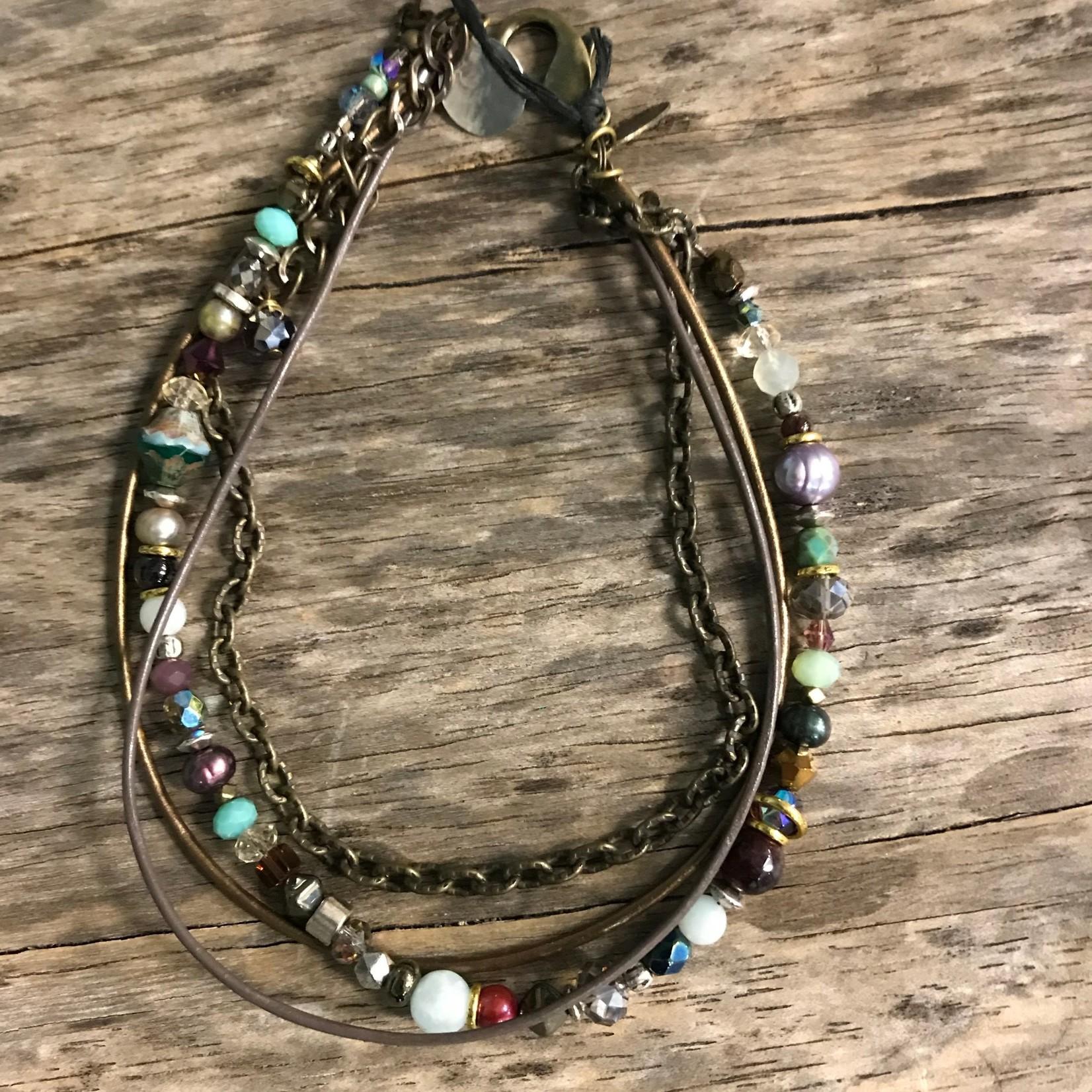 """Janine Zink Jewelry by Janine 1019-24 Bracelet """"Sand and Sea"""" Double Wrap"""