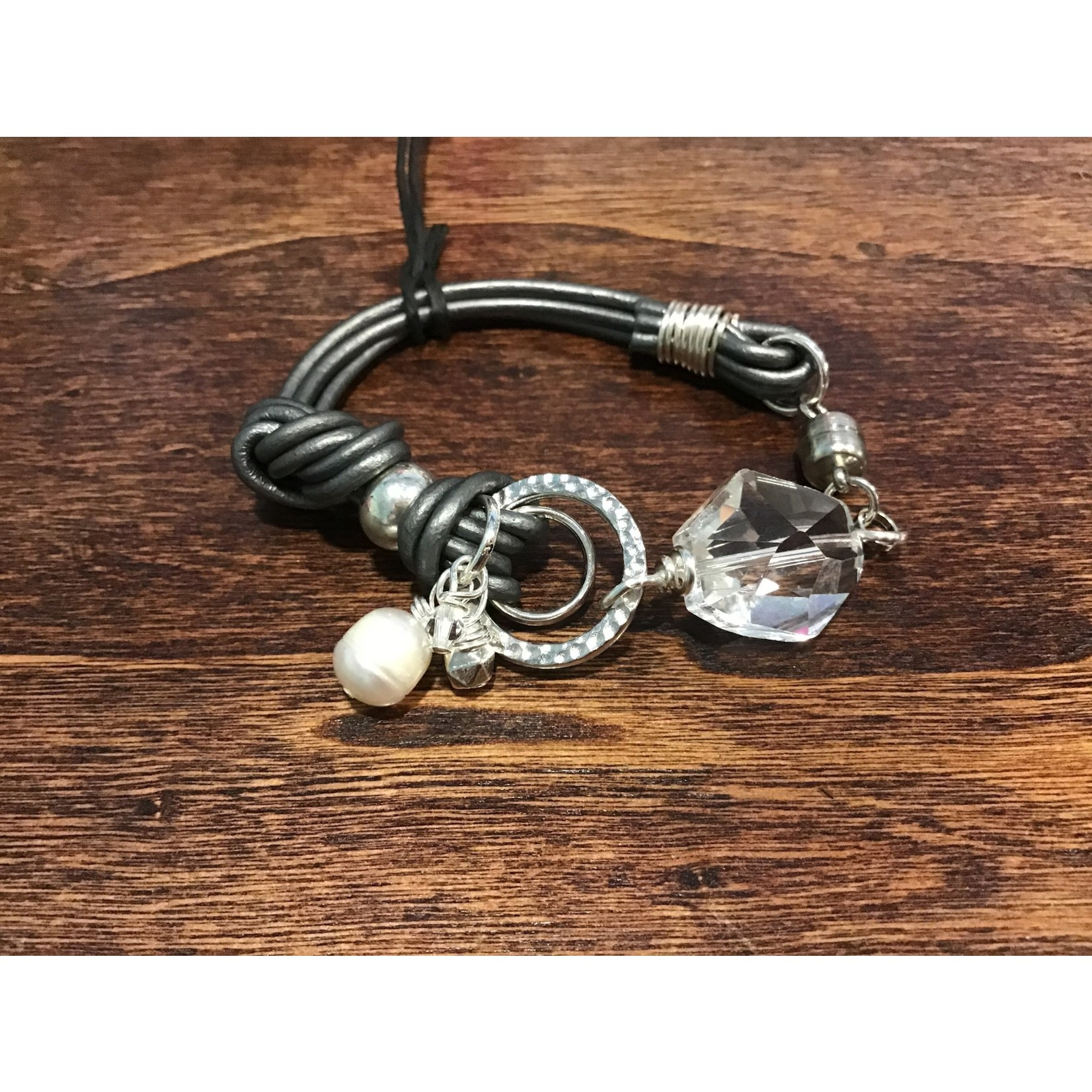 Janine Zink Jewelry by Janine- 13 Abstract Bracelet with Magnetic Clasp- Metallic Grey