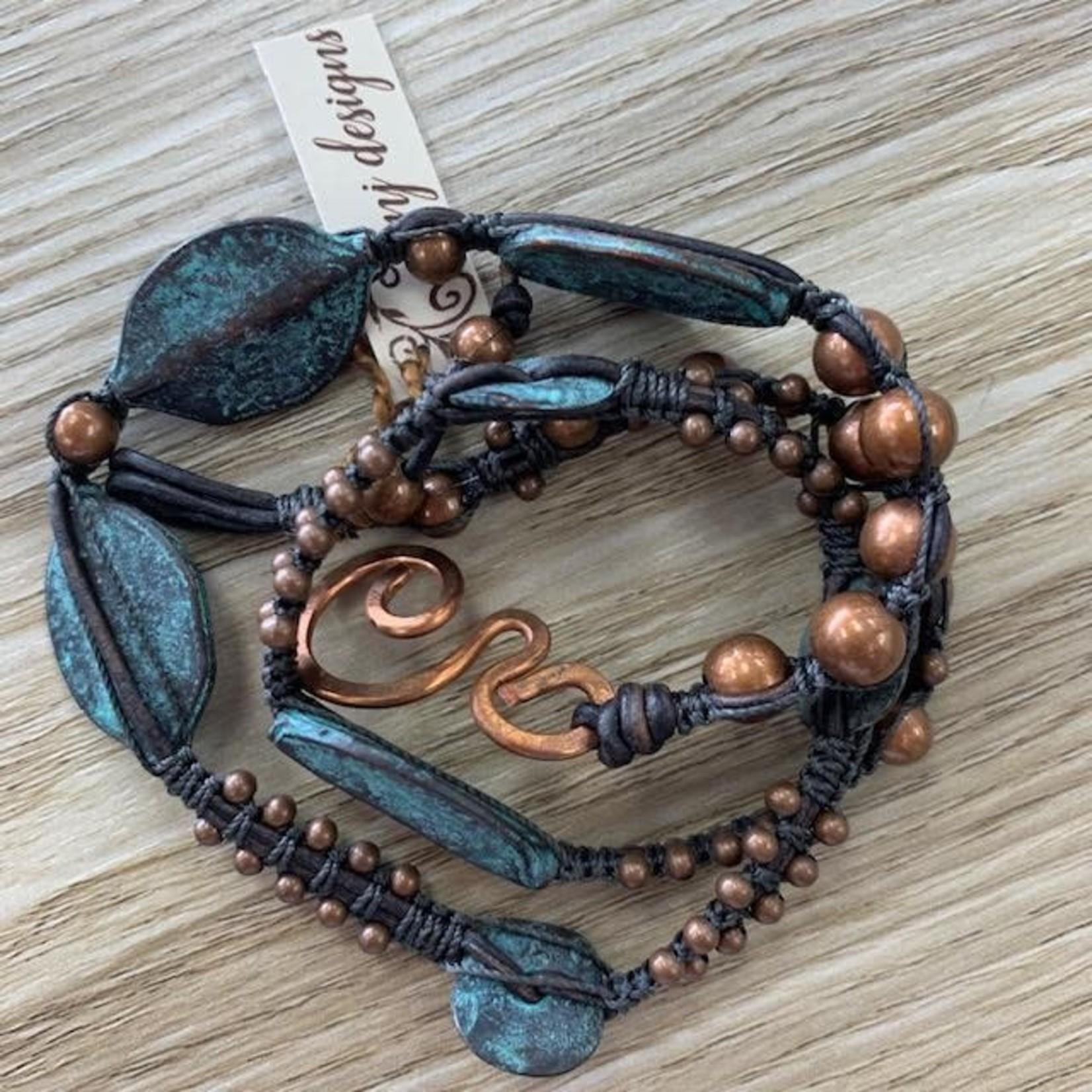 Julia Jones JMJ 720-14 3x wrap bracelet with leaves
