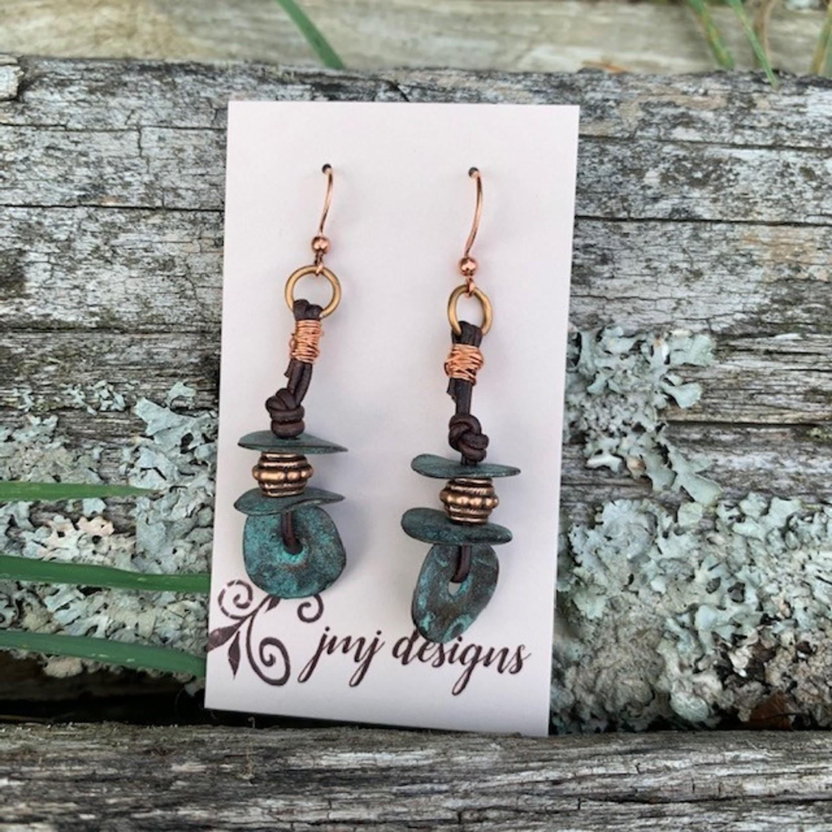 Julia Jones JMJ 720-6 copper turquoise chunky earrings