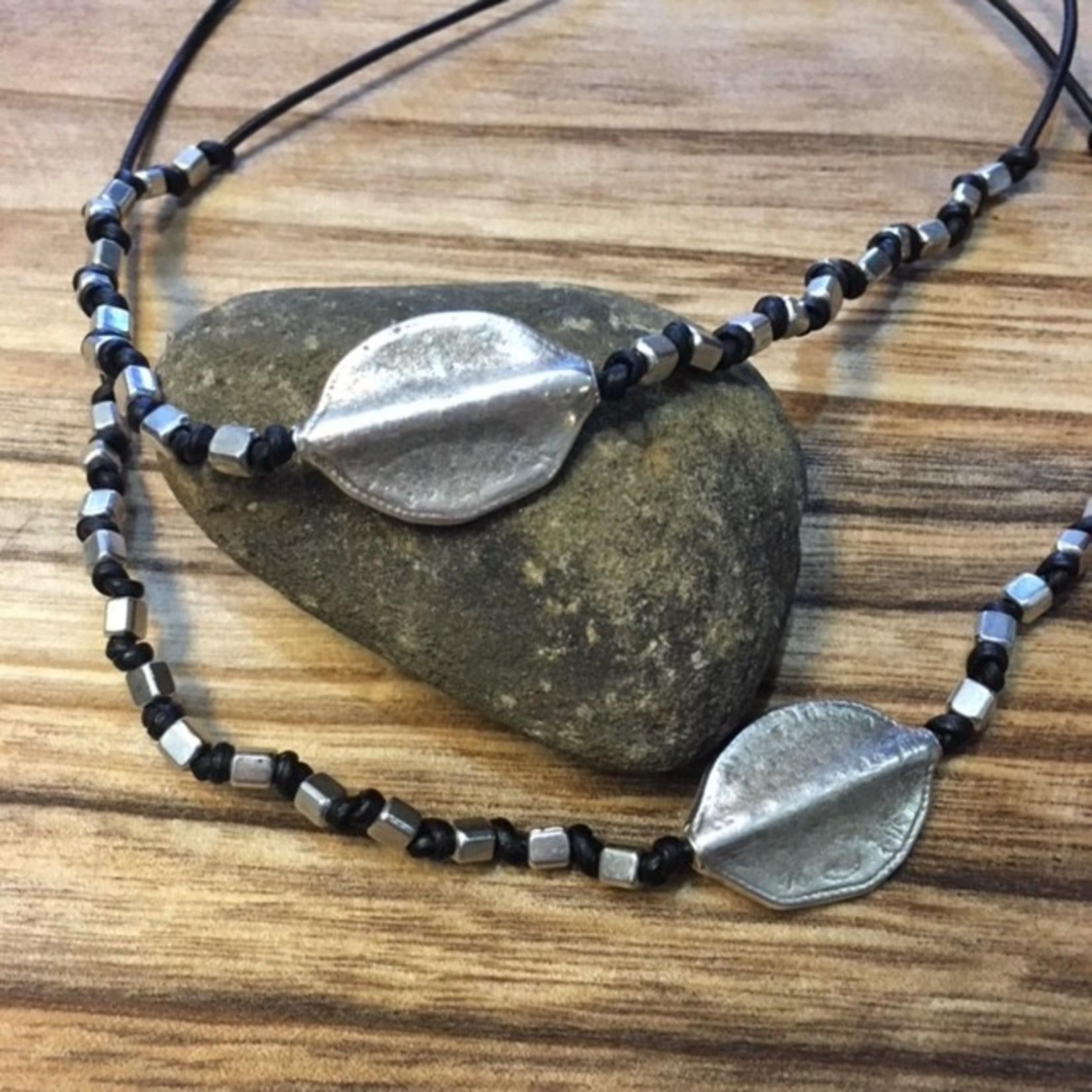 Julia Jones JMJ designs pewter leaf necklace 319-43