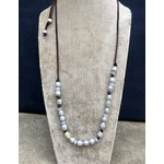 So Me So Me Designs|Classic CowGirl Necklace with Carved jadeite, Pearls and Leather