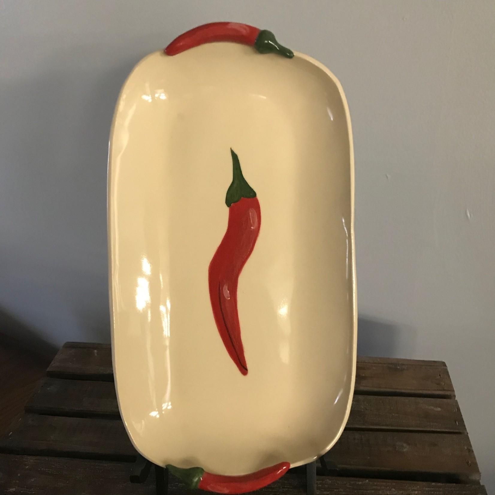 """Karen Mangis Karen Mangis Ceramic Red Pepper Tray 6""""x11"""""""