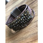 Martell Martell| Green Labradorite on multi strands wood color leather with Hill Tribe trim
