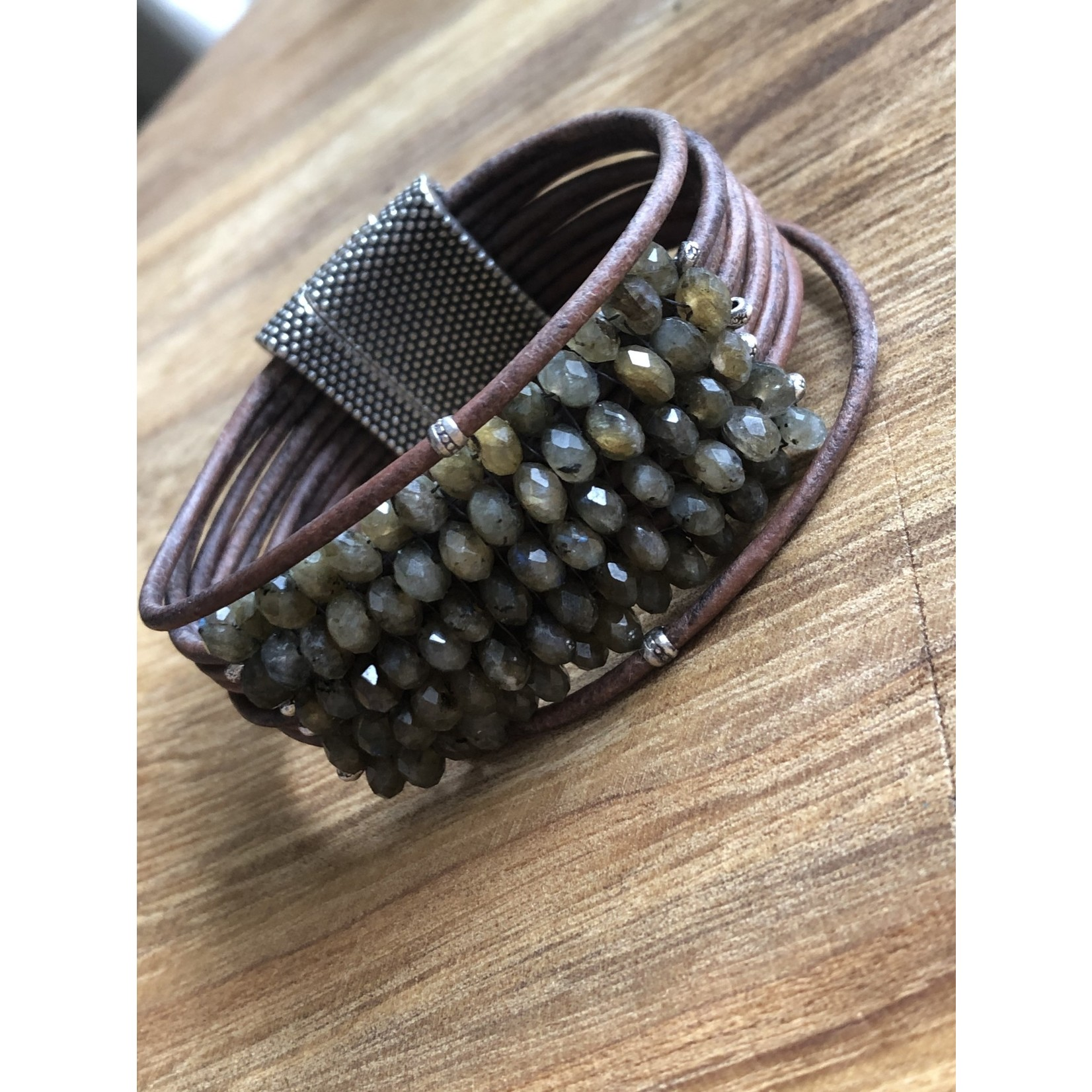 Martell Martell  Green Labradorite on multi strands wood color leather with Hill Tribe trim