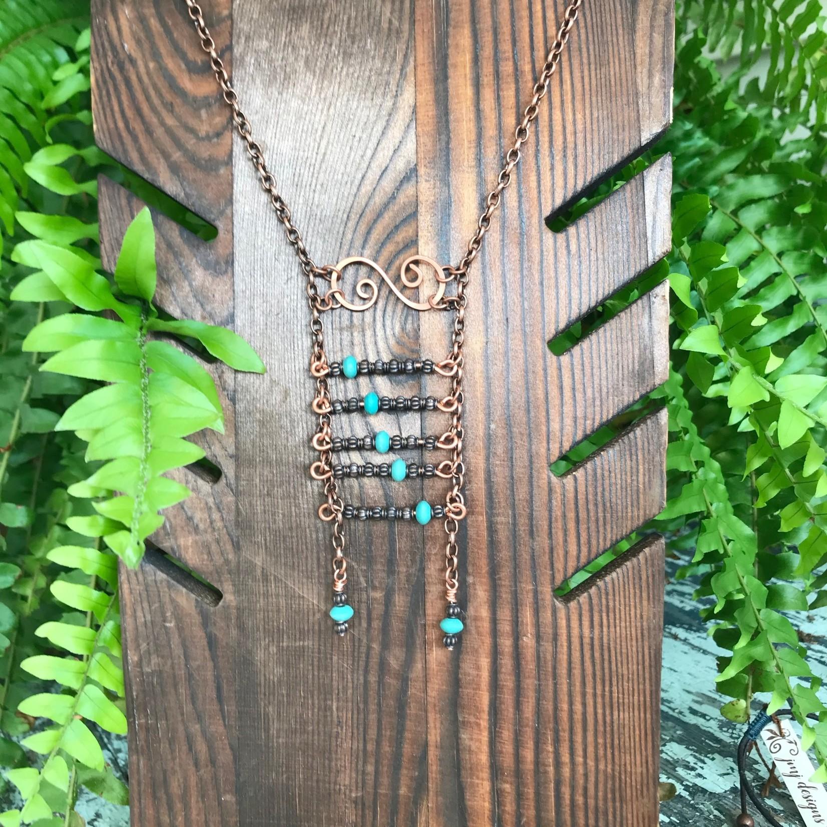 Julia Jones JMJ Designs Deep Roots Coll. Necklace - Copper/Turq Ladder Large 720-12