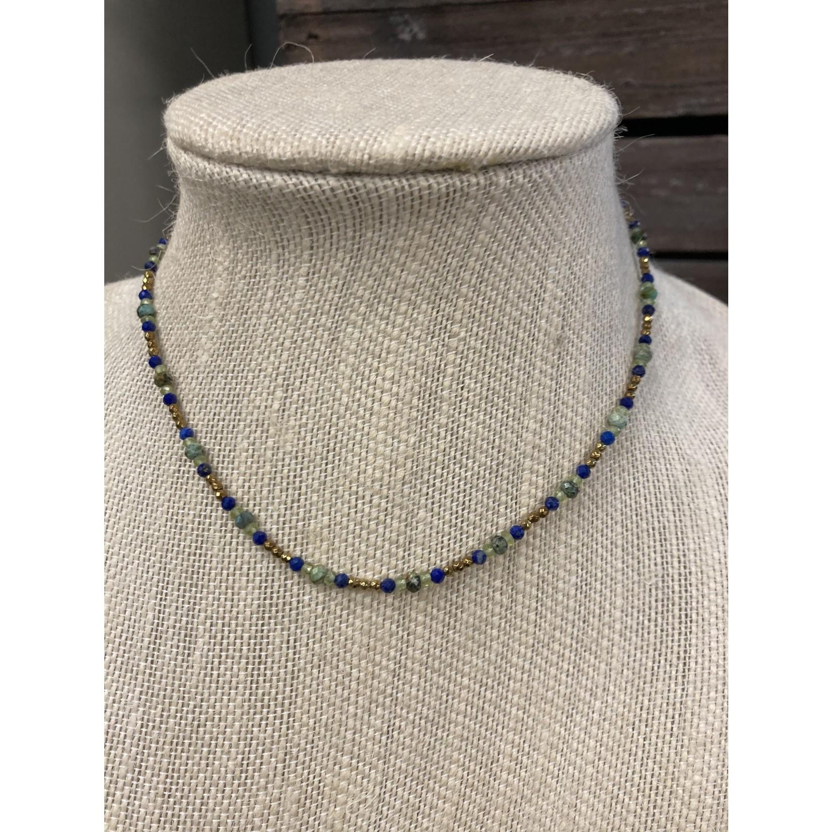 Maureen Oehrle Maureen Oehrle | N2 Pyrite with multistone repeat (African turquoise, lapis, peridot)