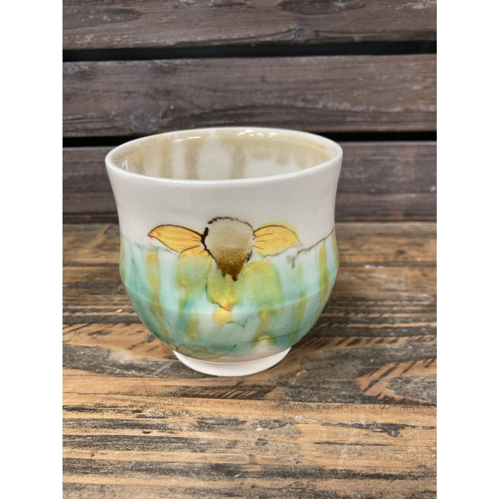 Karen McKee Karen McKee | Tea bowl |blue with yellow flower taller