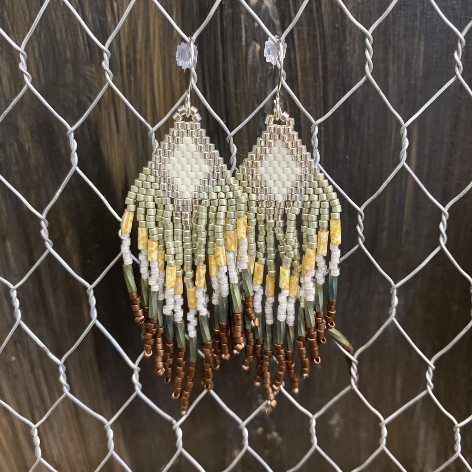 Hillary Linzy Little Grave Creek | Lt green/bronze/silver fringe earrings
