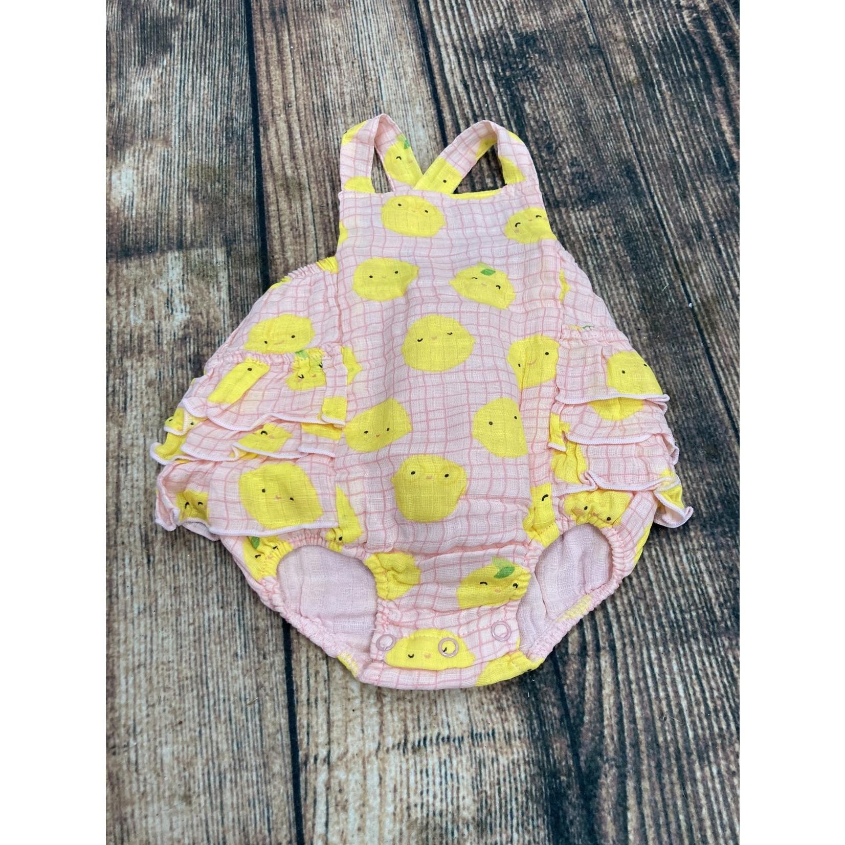 Angel Dear Angel Dear 6-12M Lemons Ruffle sunsuit pink