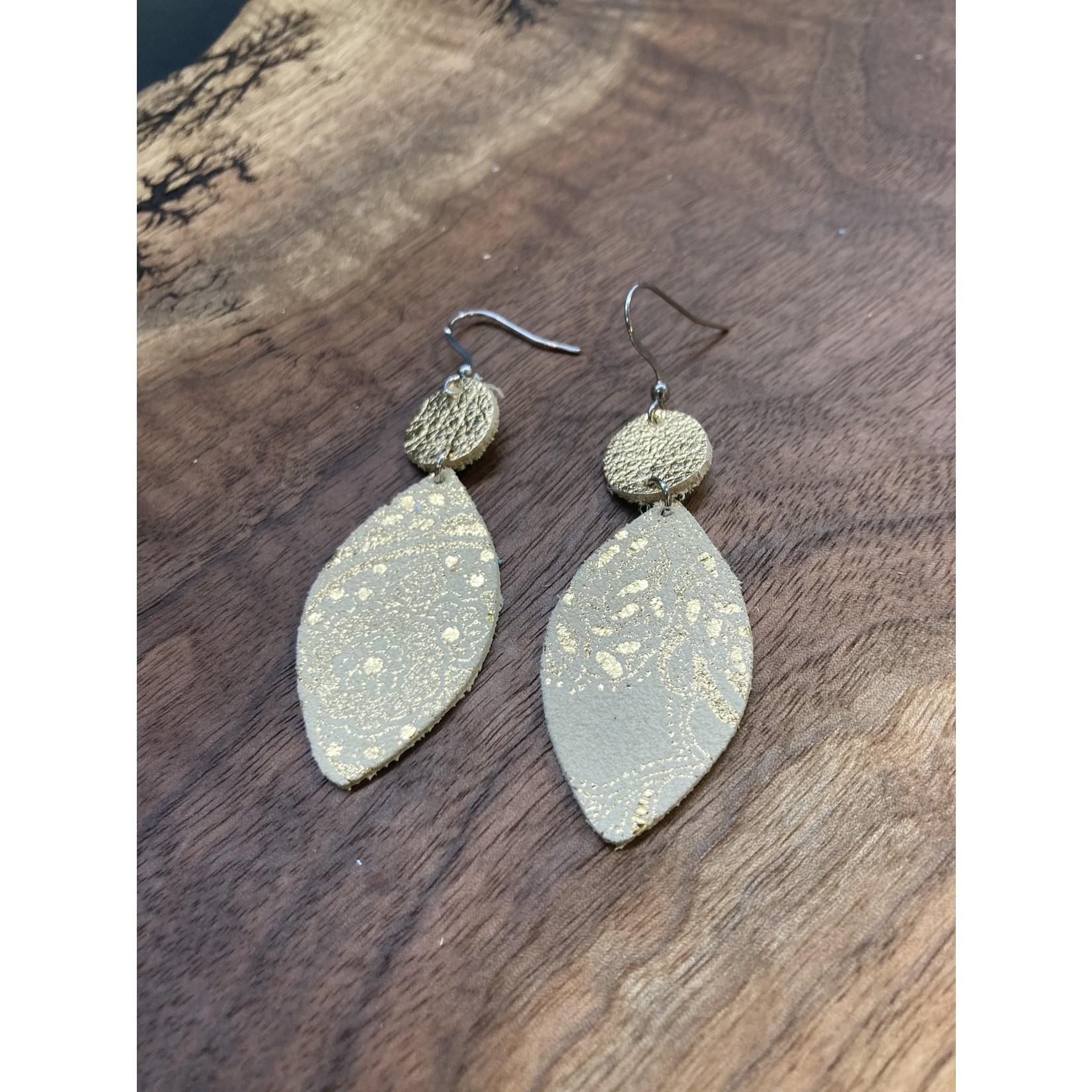 molliPOPdesign MolliPOP design paisley leather / circle and drop earrings