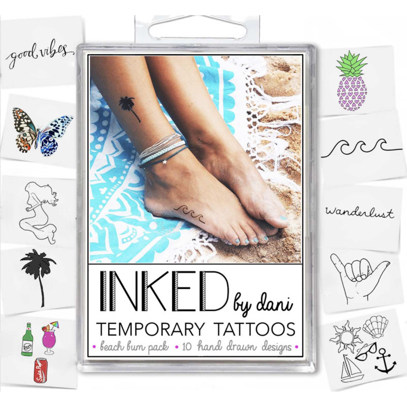 Inked by Dani INKED Tempory tattoo pack- The Beach Bum