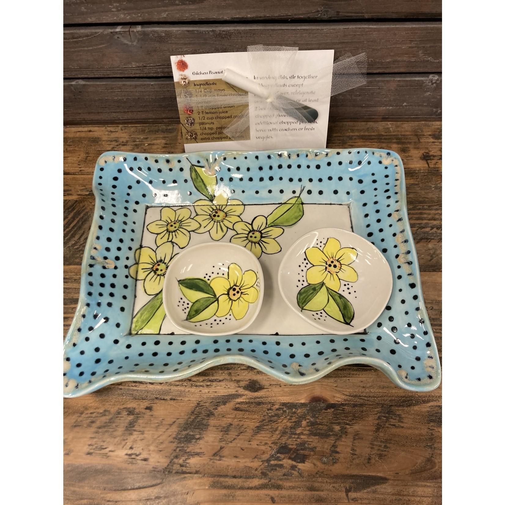 Karen McKee Karen McKee pottery 162. Flower tray with dots
