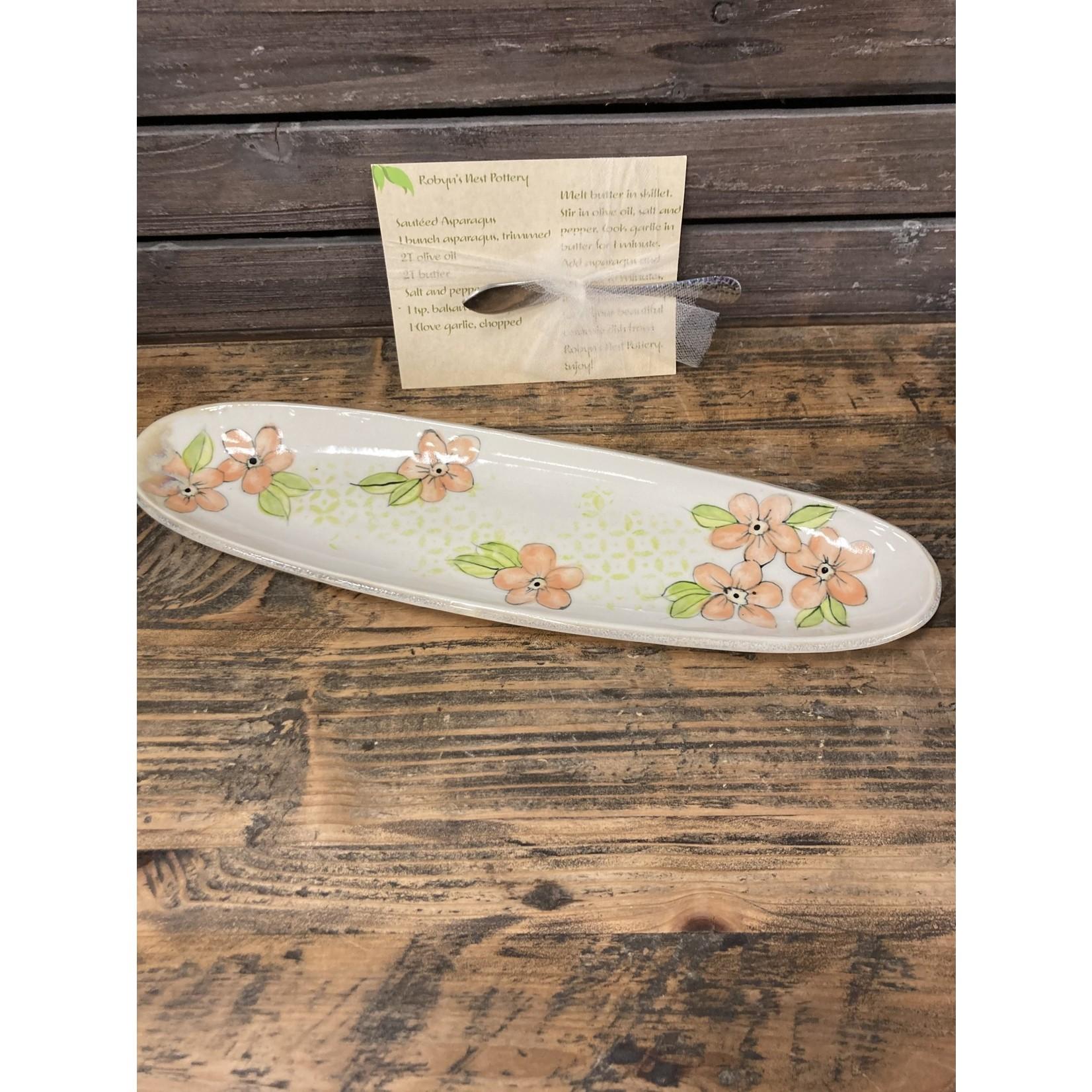 Karen McKee Karen McKee pottery 164 medium oval tray with flowers