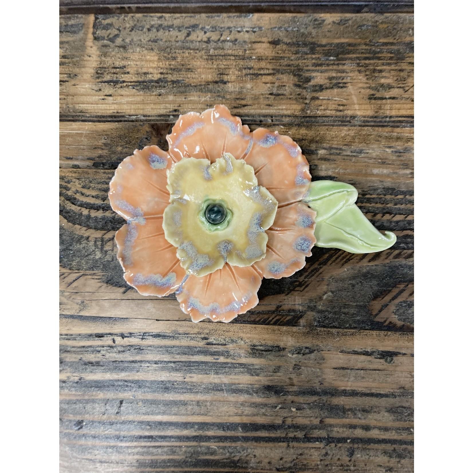 Karen McKee Karen McKee pottery 171 orange flower wall hanging