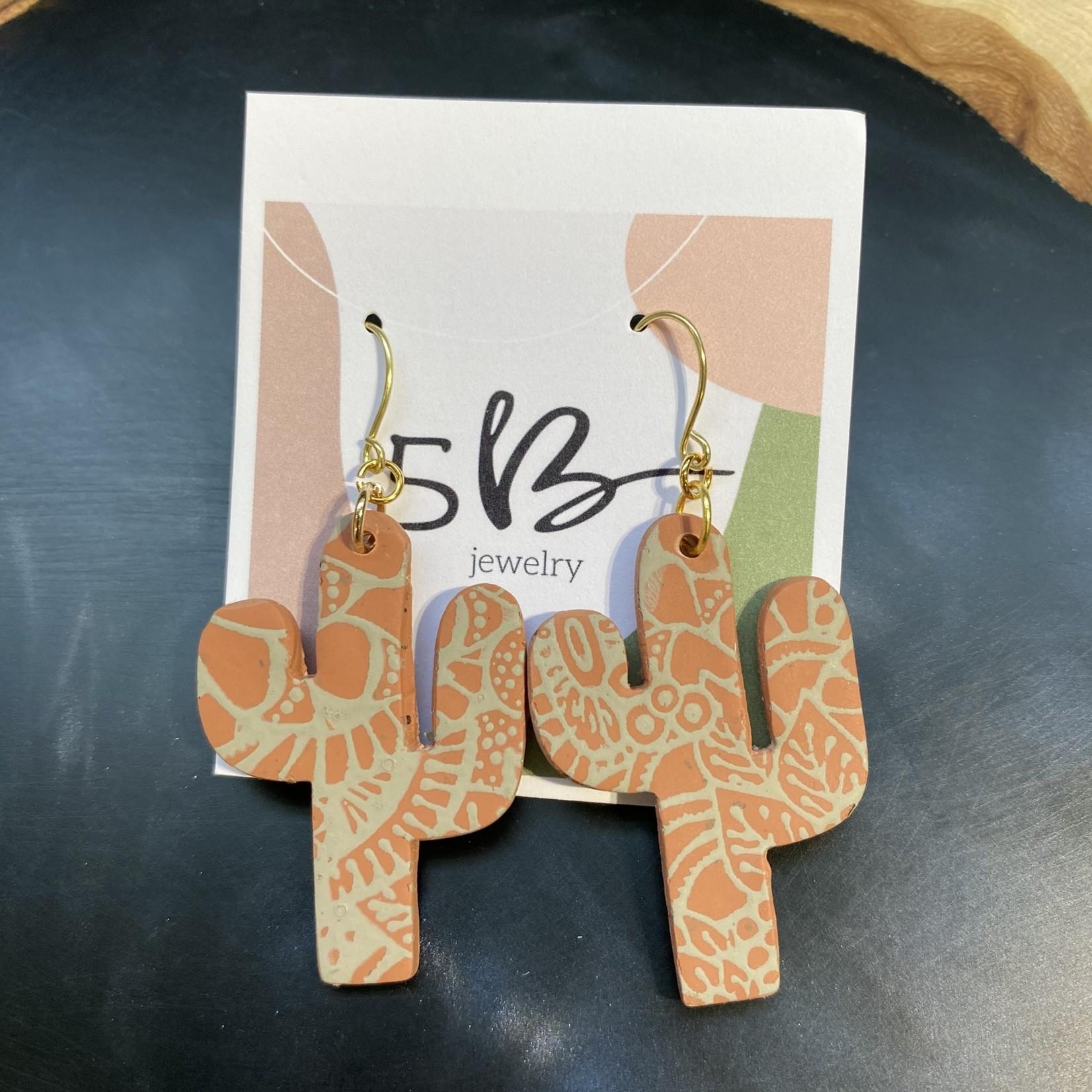 lauren Romagnola 5B Jewelry   Cactus Dangle Orange/Grey