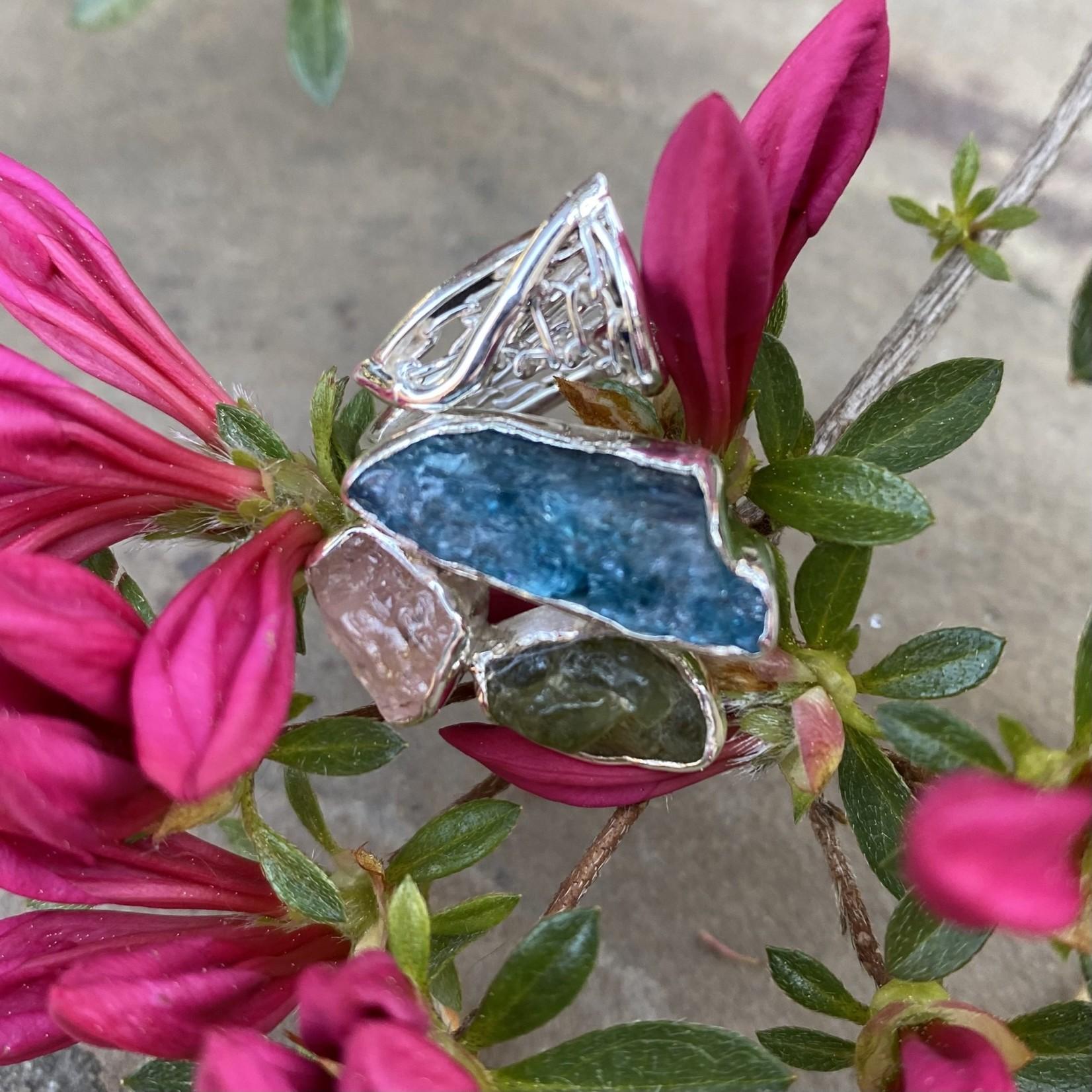 Silverheart Silverheart   Kynite, Peridot, Rose Quartz Designer Sterling Ring