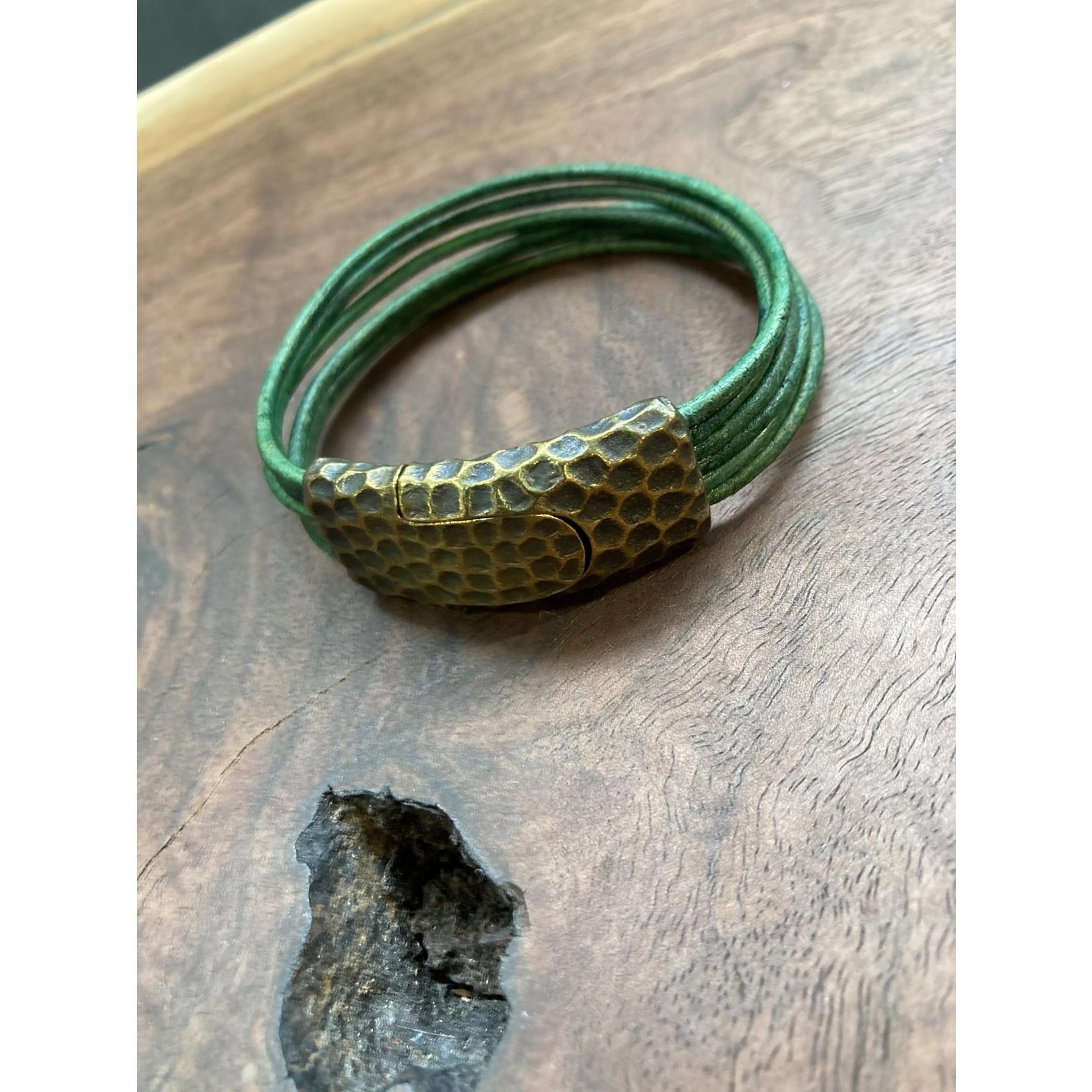 Allie Bonidy Allie B  Green Leather bracelet textured clasp