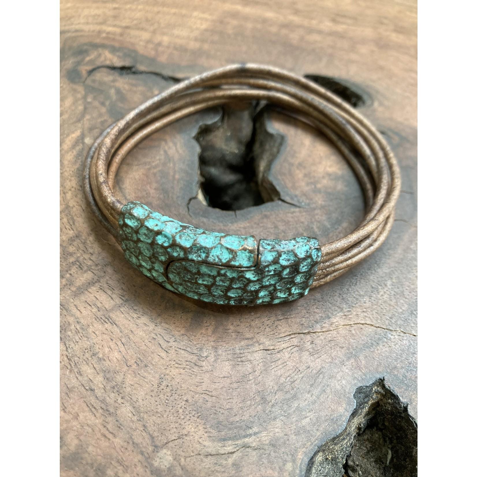 Allie Bonidy Allie B  Brown Leather bracelet blue textured clasp