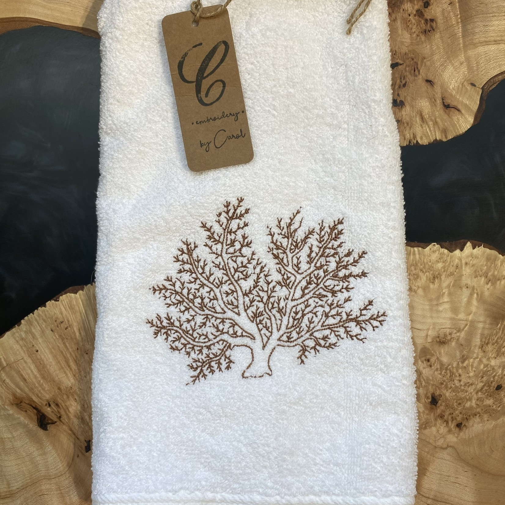 Handmade by Carol Handmade by Carol Hand Towel Brown Coral