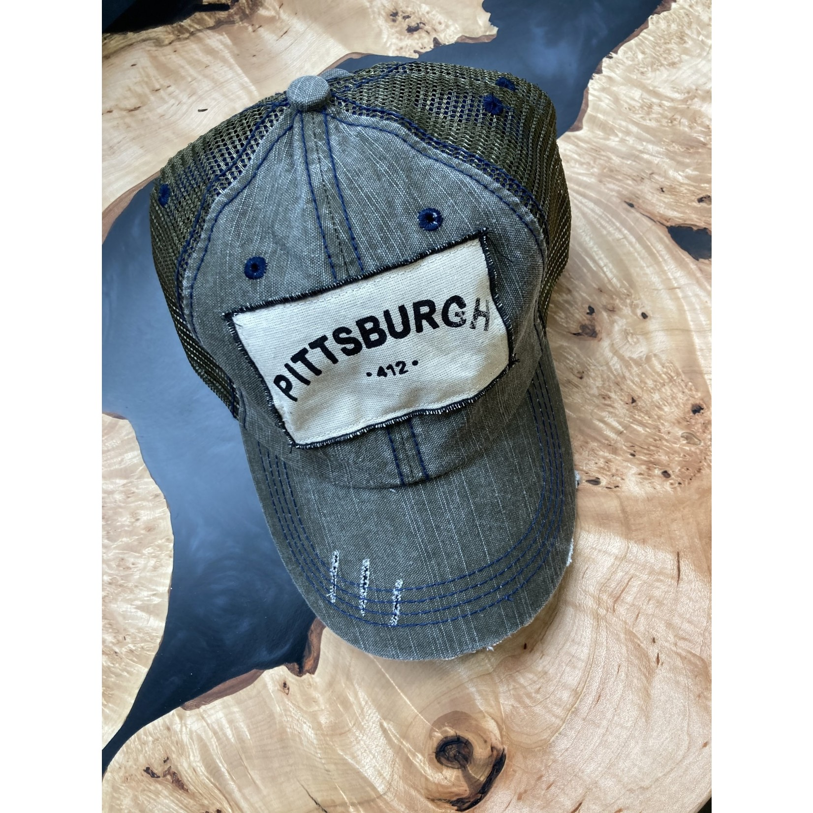 S & J Decor S & J Decor | Pittsburgh Trucker Hat - Charcoal w/green mesh