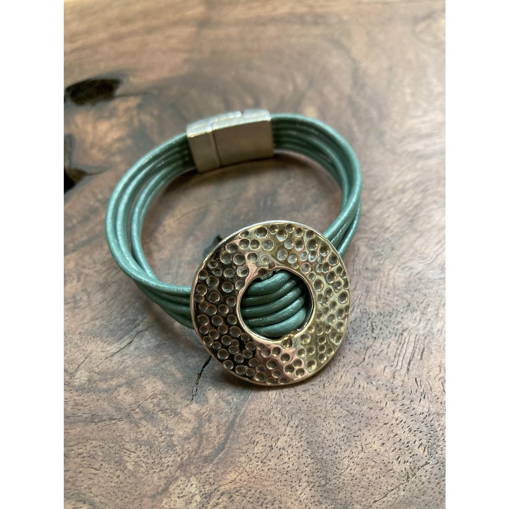Allie Bonidy Allie B  Teal Leather bracelet with hammered circle