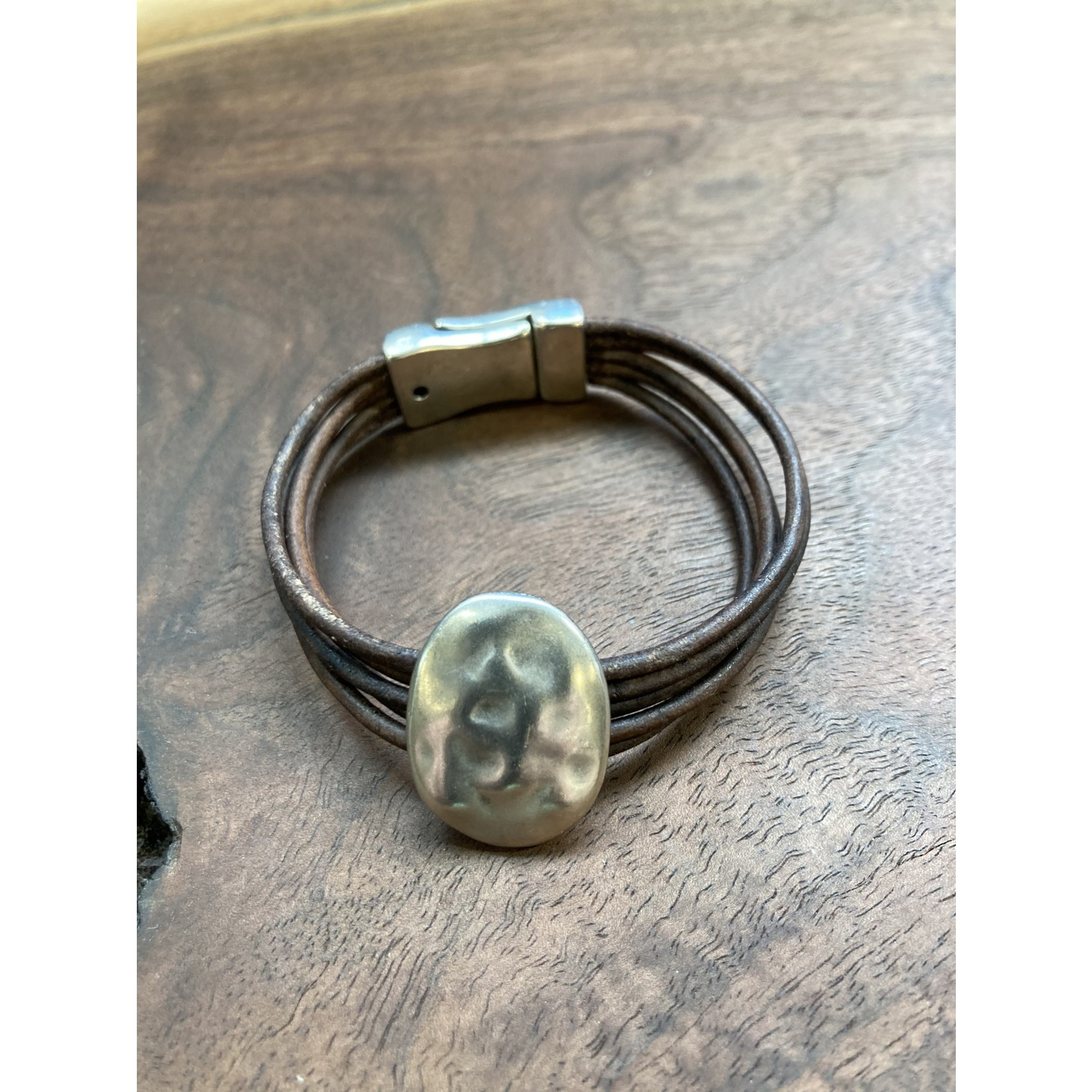 Allie Bonidy Allie B| Brown Leather bracelet with textured oval