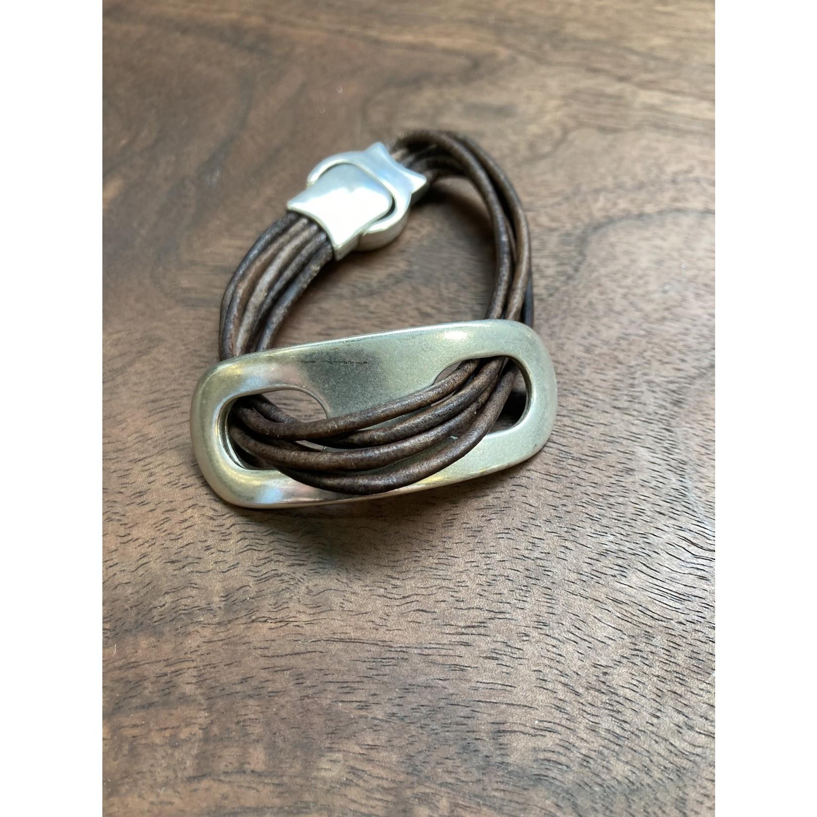 Allie Bonidy Allie B| Brown Leather bracelet with silver buckle