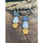 lauren Romagnola 5B Jewelry   Elongated Trio black/gold/white clip on