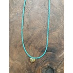 Maureen Oehrle Maureen Oehrle | N31 Turquoise Seed Beads with Evil Eye Gold Heart Pendant