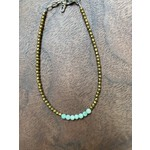 Maureen Oehrle Maureen Oehrle | B32 3mm Light Green Turquoise Rondelles with Pyrite Bracelet