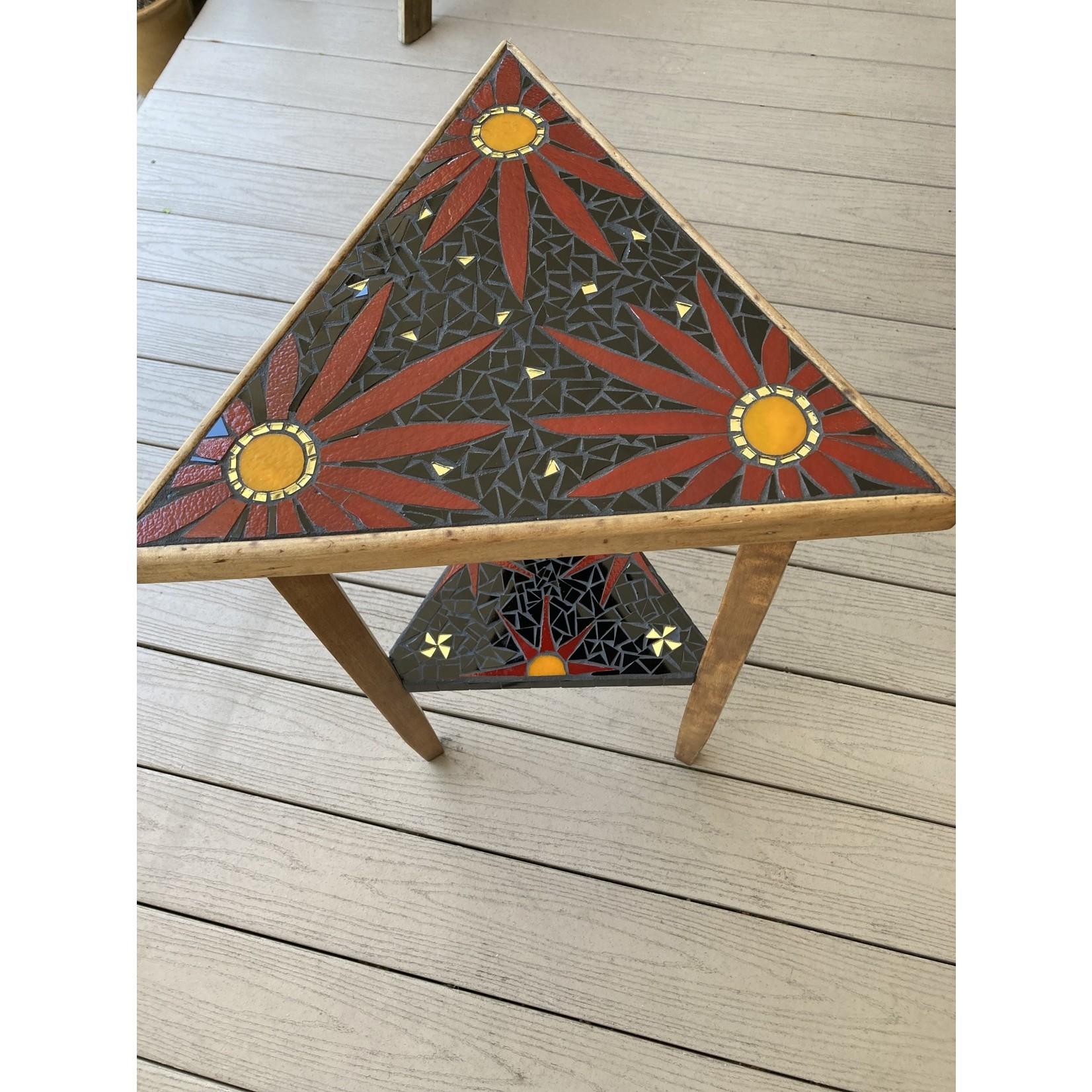 Debbie Constantin Constantin Mosaic Art   Antique Triangle Table