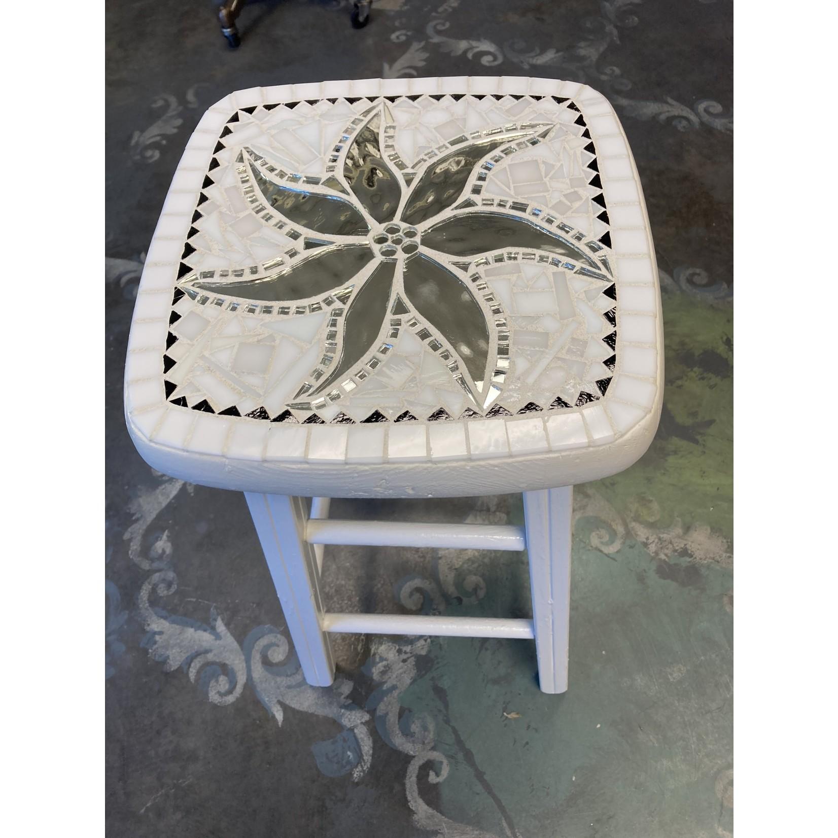 Debbie Constantin Constantin Mosaic Art   Repurposed White Stool