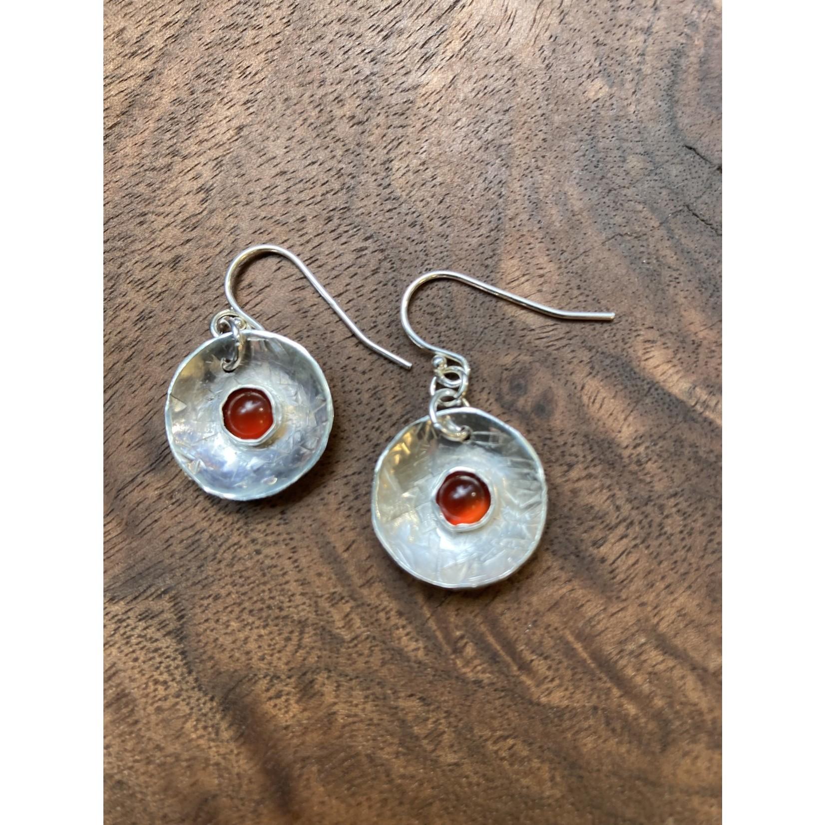 Jeanne Shuff Jeanne Marie Jewelry |  #1 SS Disk Earrings w. Bezeled Garnet