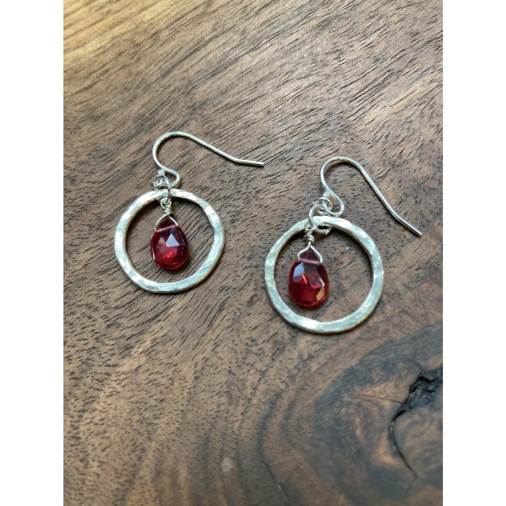 Jeanne Shuff Jeanne Marie Jewelry   #4 Fine Silver Ring Earrings w. Fuchsia Drops