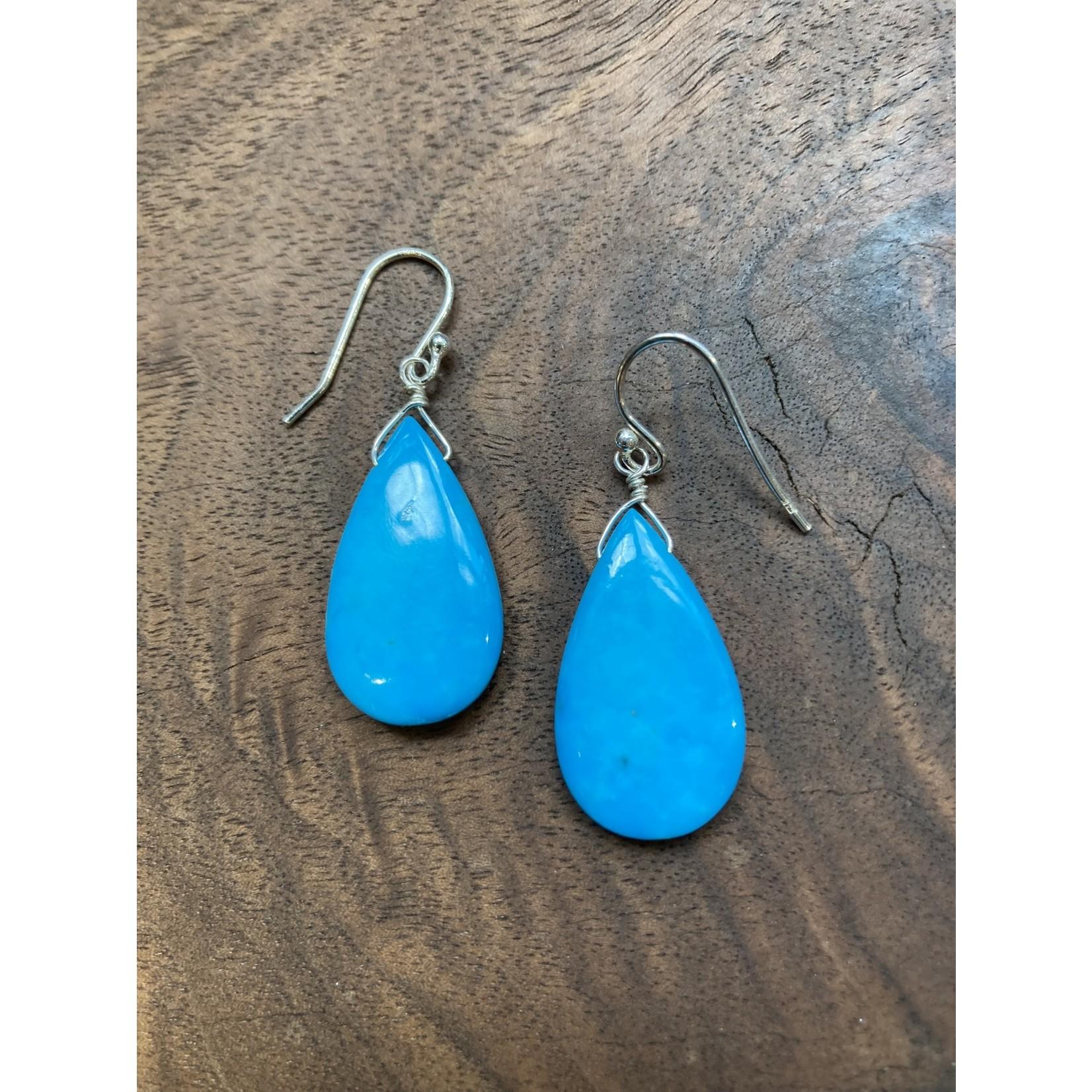 Jeanne Shuff Jeanne Marie Jewelry   #6 Wire Wrapped Turquoise Drop Earrings