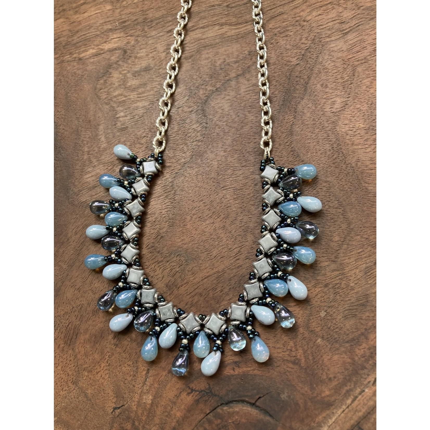 Jeanne Shuff Jeanne Marie Jewelry | #11 Beaded Center Collar Necklace w. Drops on Chain