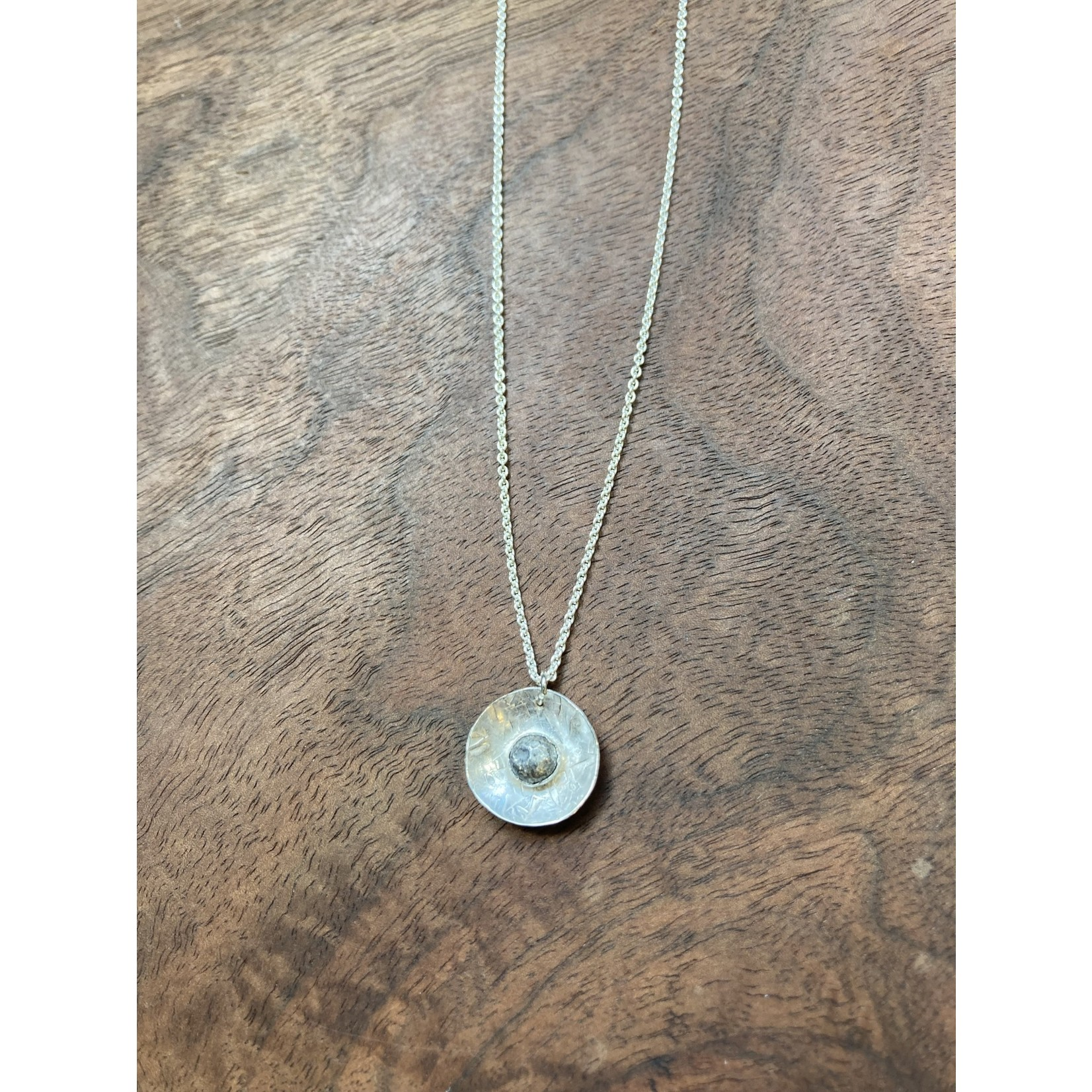 Jeanne Shuff Jeanne Marie Jewelry | #12 Sterling Nugget in Sterling Disk Necklace on Sterling Chain