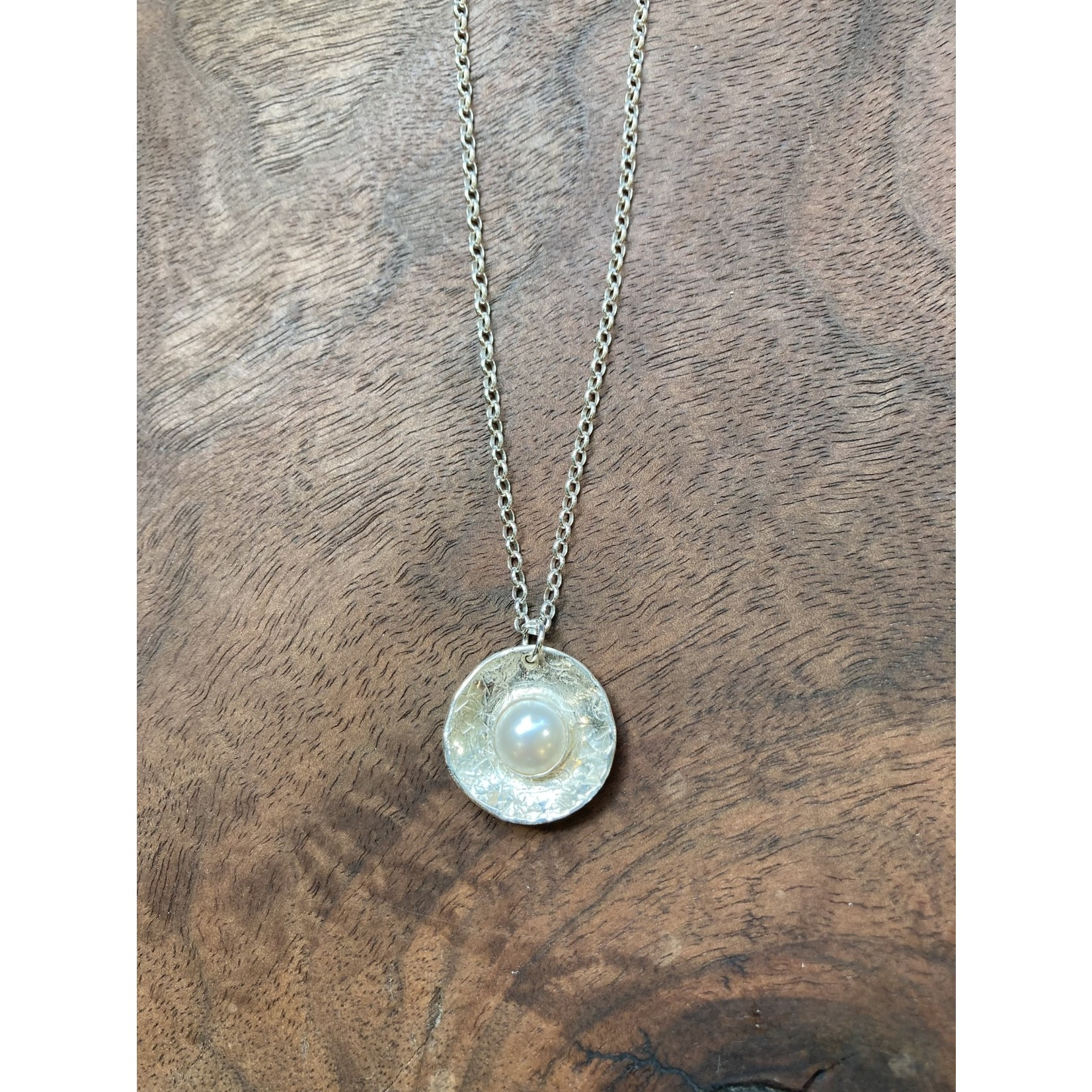 Jeanne Shuff Jeanne Marie Jewelry | #13 Crystal Pearl in Sterling Disk Necklace on Sterling Chain