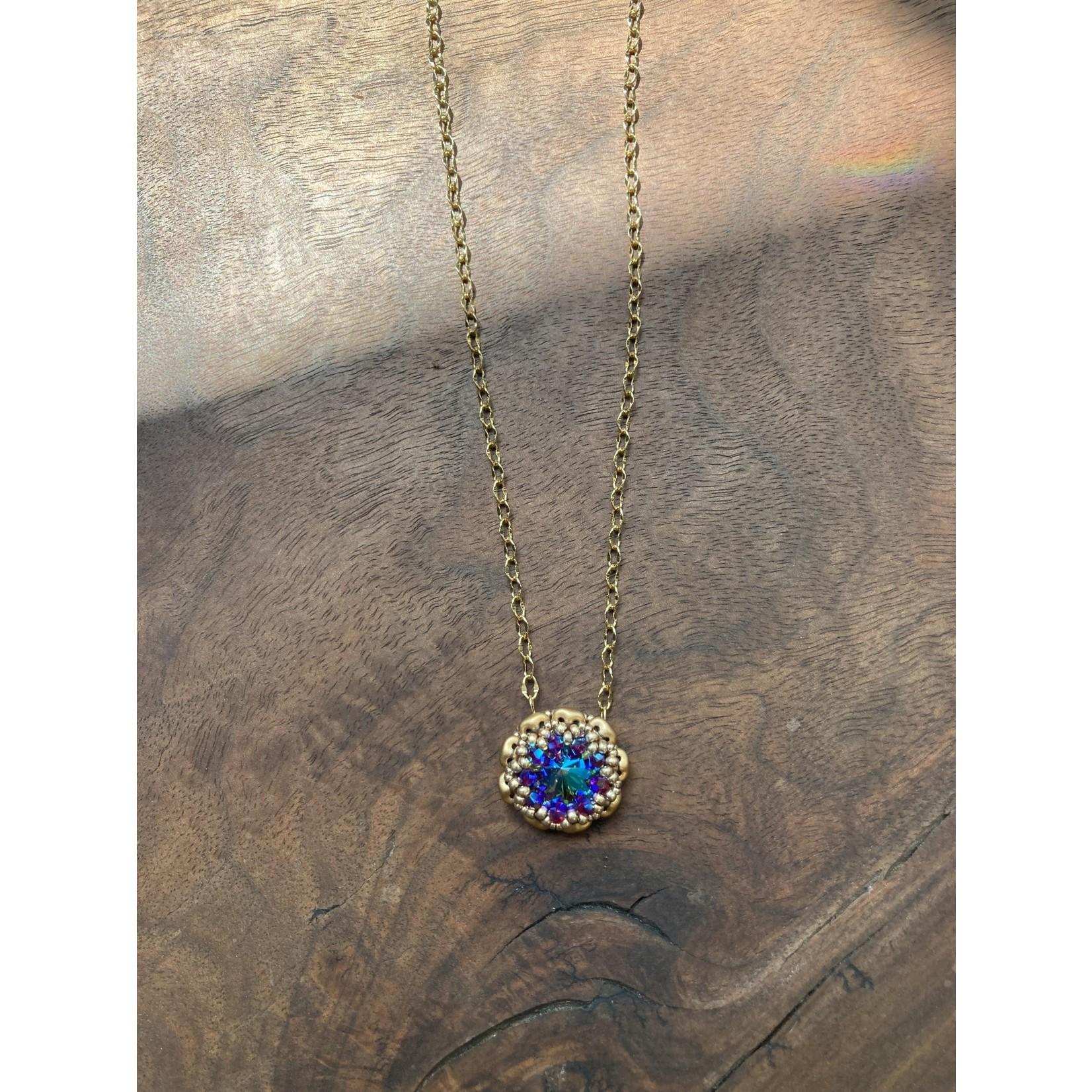 Jeanne Shuff Jeanne Marie Jewelry | #17 Beaded Bezel Setting Swarovski Necklace on Chain