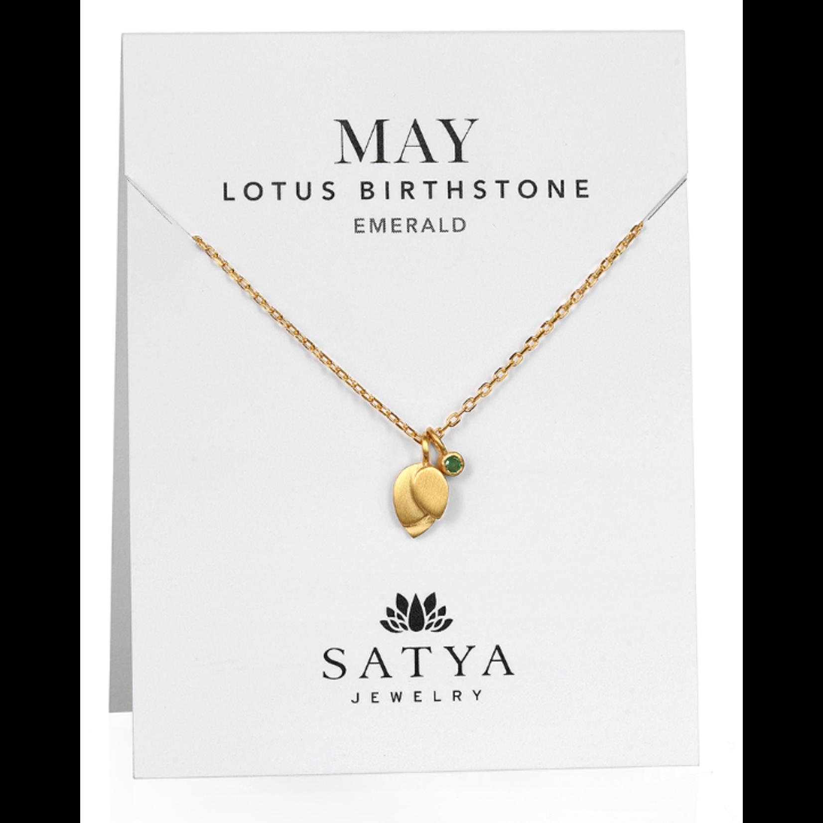 Satya Satya Lotus Leaf Birthstone Necklace- May - Emerald