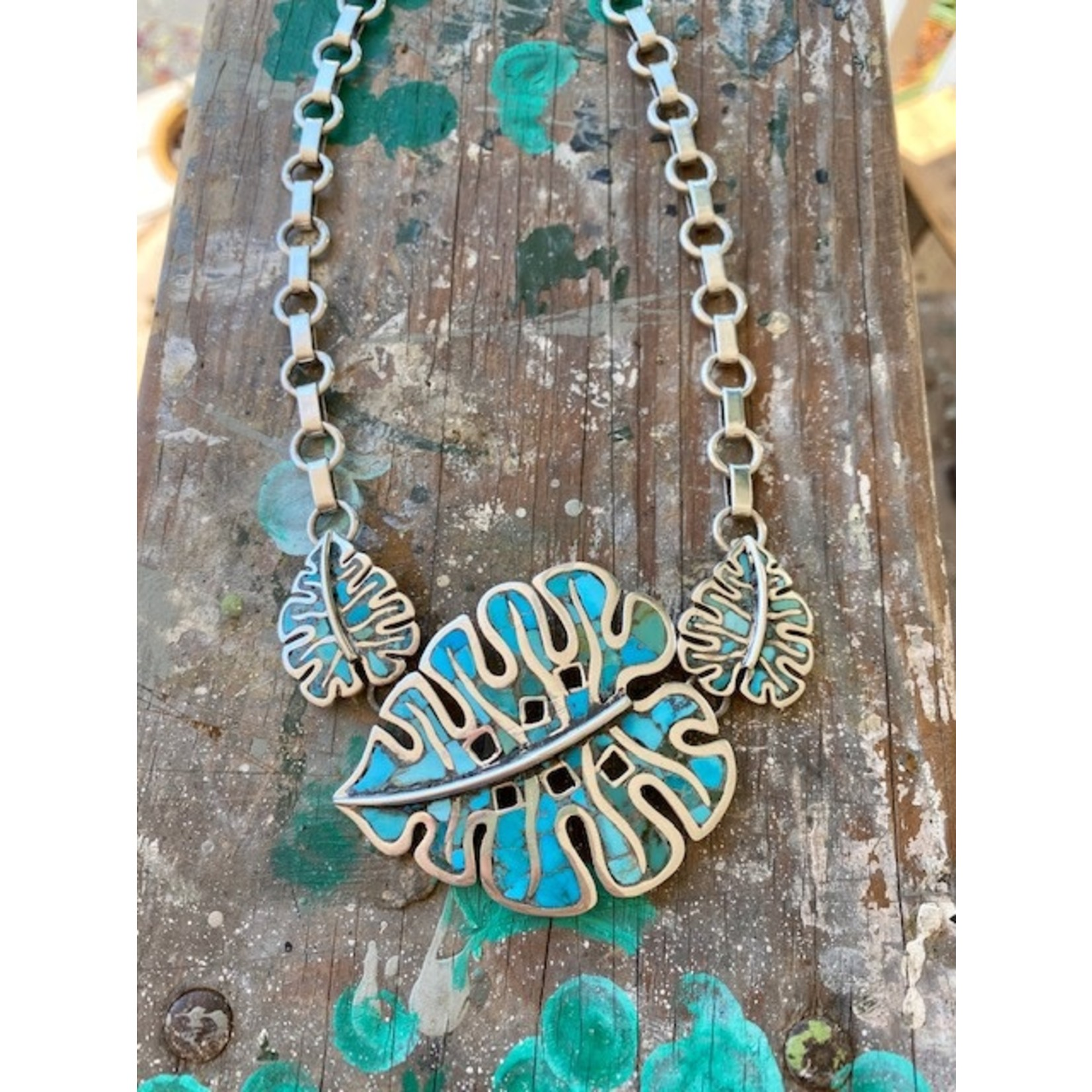 Silverheart Silverheart | Turquoise leaf and handmade chain necklace