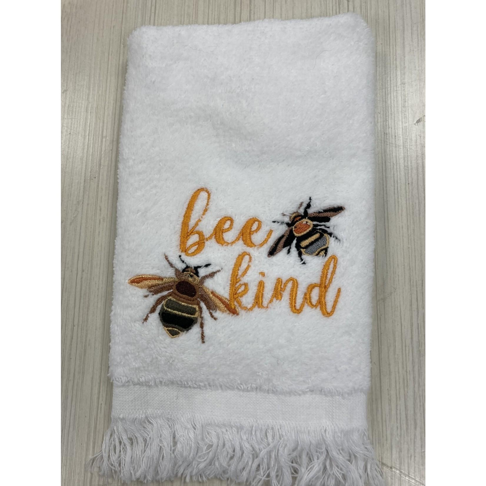 Carol Tarasi Handmade by Carol  Orange Flowers & Bees Fingertip Towel