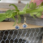 GBC 14k yellow gold soft blue sapphire dangle earrings