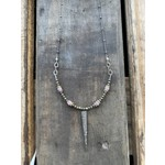 So Me So Me Designs  Sterling Silver and Diamond Spear Pendant accented with pyrite gold - filled and pink silverite